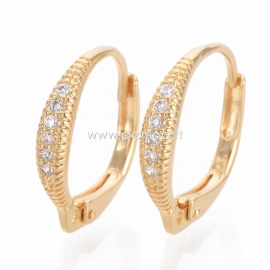 Brass cubic zirconia leverback earring findings, 18K golden plated, 16x15x3mm, 1pair