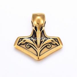"""Pakabukas """"Inkaras su paukščio kaukole"""", nerūdijantis plienas, antikinio aukso sp., 34x33x8,5 mm"""
