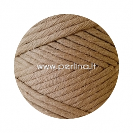 Pasukta medvilninė virvė, balintos kavos sp., 3 mm, 140 m