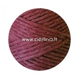 Pasukta medvilninė virvė, raudono vyno sp., 3 mm, 140 m