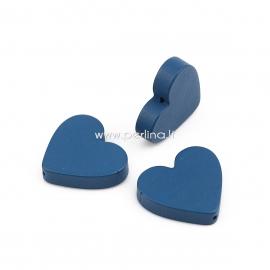 Medinis karoliukas širdutė, tamsi mėlyna sp., 21x19 mm, 1 vnt.