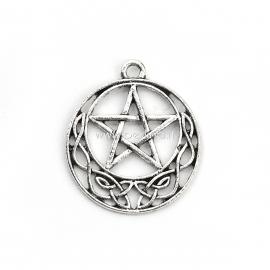 """Pakabukas """"Penkiakampė žvaigždė ir keltų mazgas"""", antikinio sidabro sp., 29x25 mm"""