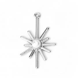 Pakabukas saulė su perlo imitacija, sidabro sp., 33x20 mm