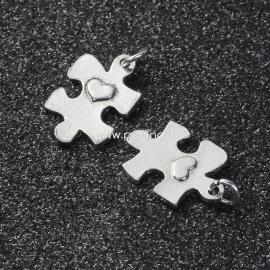 Pakabukas dėlionė su širdute, antikinio sidabro sp., 27x15 mm