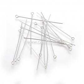 Eye pins, stanless steel, 50x0,6 mm, 10 pcs
