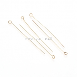 Eye pins, stainless steel, golden, 50x0,6 mm, 1 pc