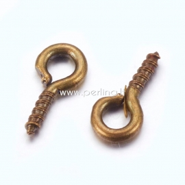 Screw eye pin peg bail, antique bonze color, 8x4x1mm, 1pc