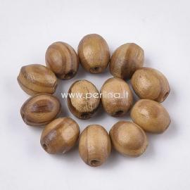 Medinis karoliukas, natūrali medžio sp., 10x8 mm, 10 vnt.