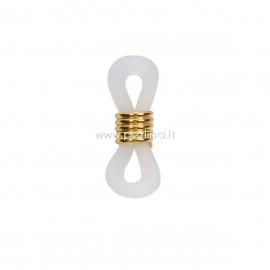 Eyeglasses chain holder, gold plated white, 20x6mm, 1pc