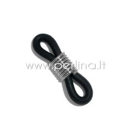 Eyeglasses chain holder, silver tone black, 20x6mm, 1pc