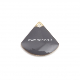 """Pendant """"Fan shaped"""", gray gold plated, 13x12 mm"""