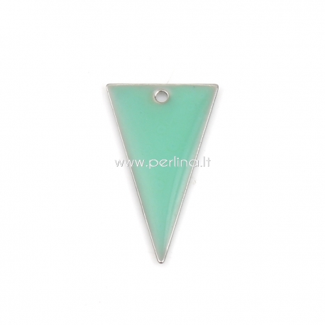 """Pakabukas """"Trikampis"""", šv. žalia sp., paauksuota, 22x13 mm"""