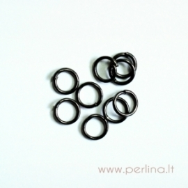 Black color open jump ring, 5 mm, 10 pcs