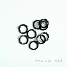 Black color open jump ring, 4 mm, 10 pcs