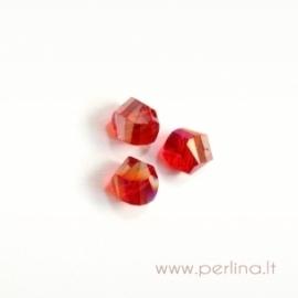 Stiklo karoliukas, raudonas AB danga, helix, 6 mm