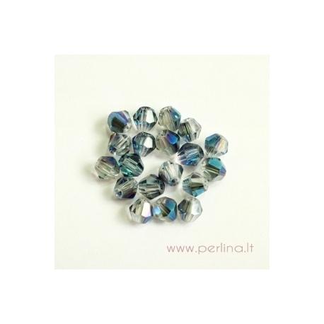 Stiklo karoliukas, pilkšvas su mėlyna AB danga, 4 mm