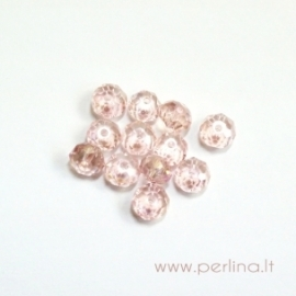 Stiklo karoliukas, light rose AB, 4x6 mm
