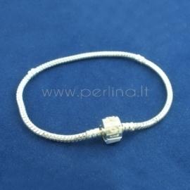 "Snake chain ""Love"" Pandora bracelet, snap clasp, silver plated, 20 cm x 3 mm"