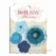 """Medžiaginės gėlytės """"Denim Blue Dahlia"""", 4 vnt."""