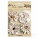 """Popierinės gėlytės """"White Wild Blossoms"""", 4 vnt."""