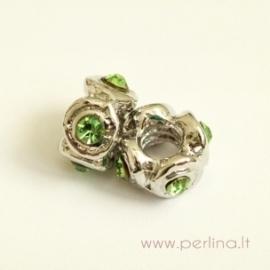 Pandora karoliukas su žaliais kristalais, 11x6 mm