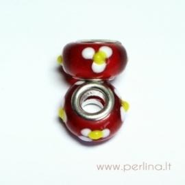Lampwork karoliukas, raudonas, 16x9 mm