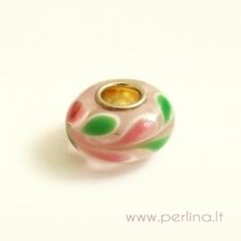 Lampwork karoliukas, rožinė sp., 14x7 mm