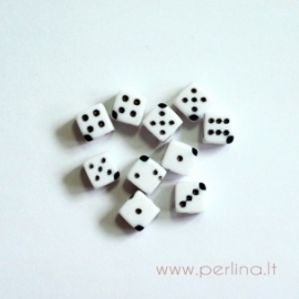 Akriliniai karoliukai-kauliukai, 6 mm, 1 vnt