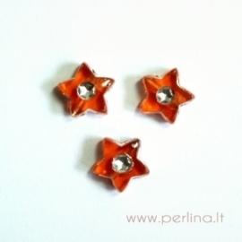 Akrilinis karoliukas-žvaigždutė, oranžinės sp., 9x9 mm, 1 vnt