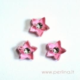 Akrilinis karoliukas-žvaigždutė, rožinės sp., 9x9 mm, 1 vnt