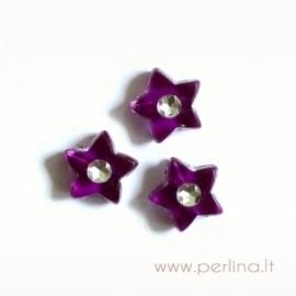 Akrilinis karoliukas-žvaigždutė, violetinės sp., 9x9 mm, 1 vnt