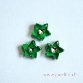 Akrilinis karoliukas-žvaigždutė, žalios sp., 9x9 mm, 1 vnt
