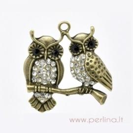 """Bronzos sp. pakabukas """"Owl"""", 3,7x3,7 cm"""