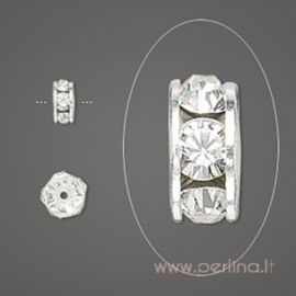 Spacer Rondelle, Crystal Clear, 4x2 mm