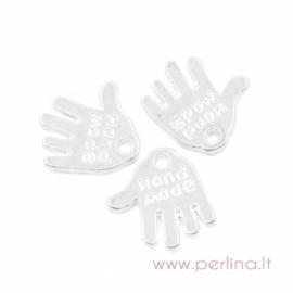 """Pakabukas """"Hand Made"""", antikinio sidabro sp., 12x11 mm"""