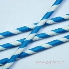 Popierinis šiaudelis, dryžuotas, mėlynas, 20 cm