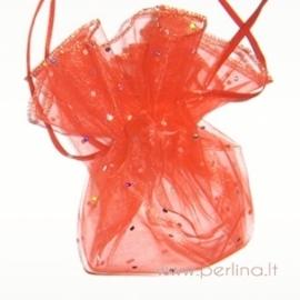 Organzos maišelis, raudonas, 25 cm