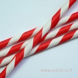 Paper straw, red, striped, 20 cm, 1 pc