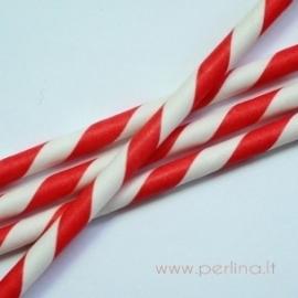 Popierinis šiaudelis, dryžuotas, raudonas, 20 cm