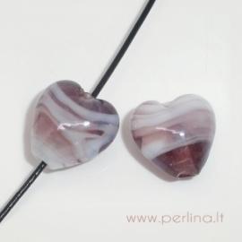 Lampwork stiklo karoliukas-širdelė, 12x12 mm