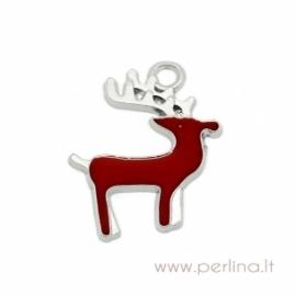 "Pakabukas dengtas emaliu ""Christmas Reindeer"", 23x20 mm"