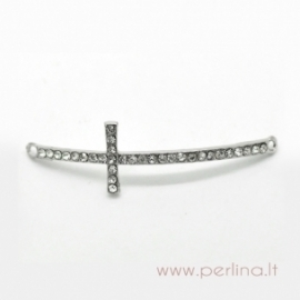"""Silver connector-inset with clear rhinestones """"Cross"""", 5,4x1,6 cm"""