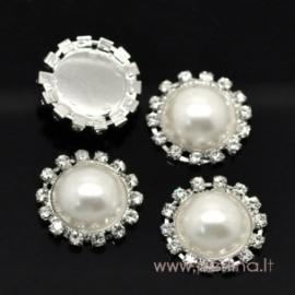 "Akrilinis kabošonas su kristalais ""Perlas"", 23 mm"