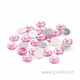 Briaunuotas akrilinis kabošonas, rožinis, 18 mm