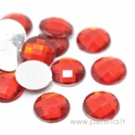 Briaunuotas akrilinis kabošonas, raudonas, 12 mm