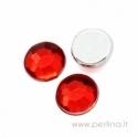 Briaunuotas akrilinis kabošonas, raudonas, 6 mm