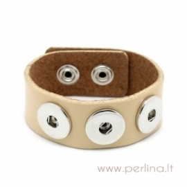 Real leather buckle snap button wristband / watch band bracelet, white coffee, 24 cm