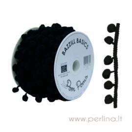 Pom Poms juostelė, juoda, 50 cm