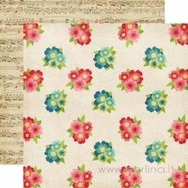 """Popierius """"Bouquets"""", 30,5x30,5 cm"""