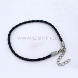 Plaited bracelets cord with clasp, black, 20 cm